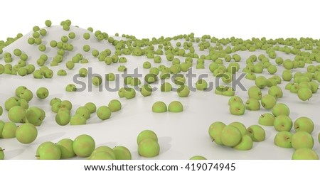3d illustration of many different but identical apples / Individuality - stock photo