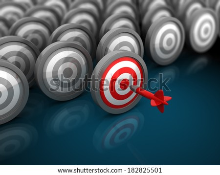 3d illustration of many targets with one red, right choice and success concept - stock photo