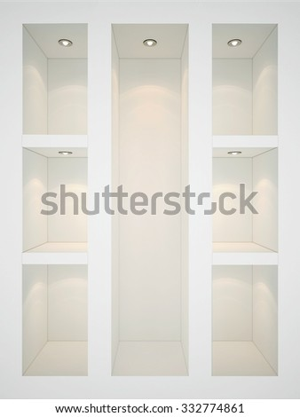 3D Illustration of many white shelves with backlight - stock photo