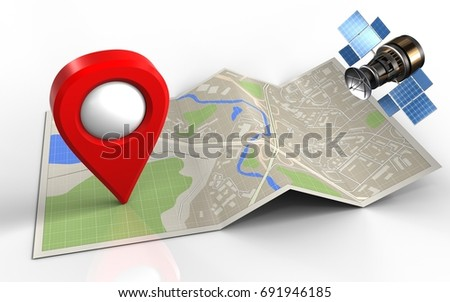 3d illustration of map paper with location pin and gps satellite