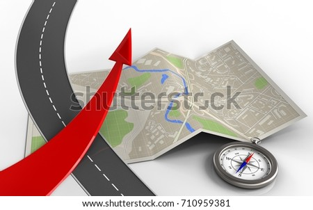 3d illustration of map paper with red arrow and compass