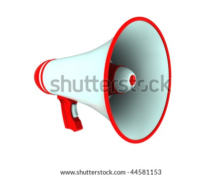 3d illustration of megaphone isolated over white background
