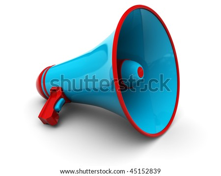3d illustration of megaphone over white background - stock photo