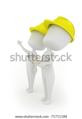 3D Illustration of Men Discussing the Progress of their Project - stock photo