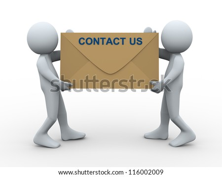 3d illustration of men holding contact us envelope. 3d rendering of human character. - stock photo