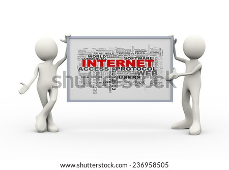 3d illustration of men holding internet wordcloud board. 3d human person character and white people - stock photo