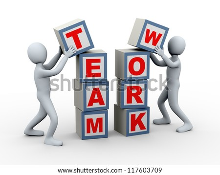 3d illustration of men placing team work boxes. 3d rendering of human character. - stock photo