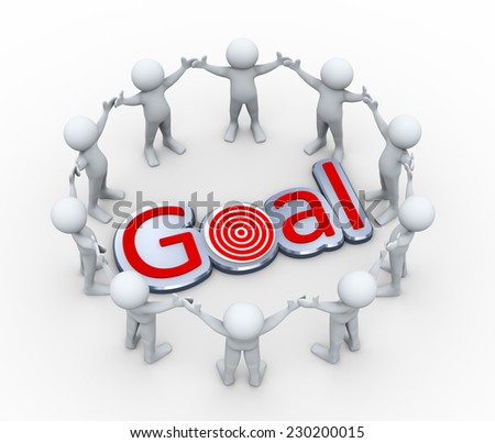 3d illustration of men together  in circle around word goal. - stock photo