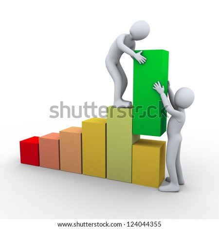 3d Illustration of men working together to raise progress bar. 3d rendering of people - human character. - stock photo