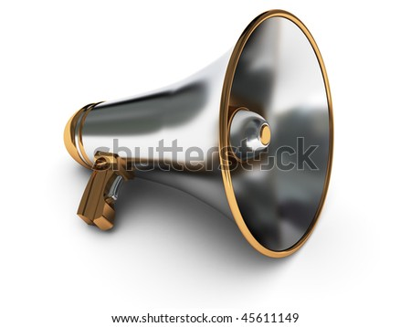 3d illustration of metal megaphone over white background - stock photo