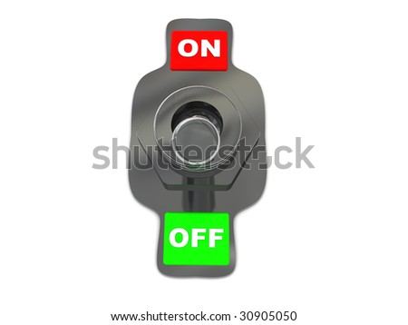 3d illustration of metal on-off switch over white background - stock photo