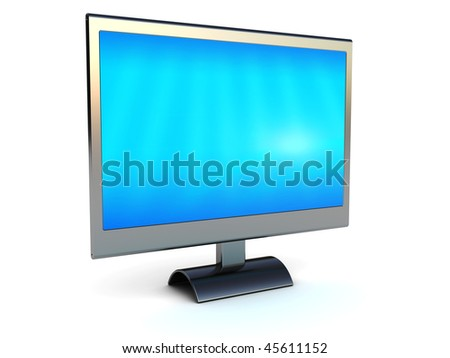 3d illustration of metallic computer monitor over white background