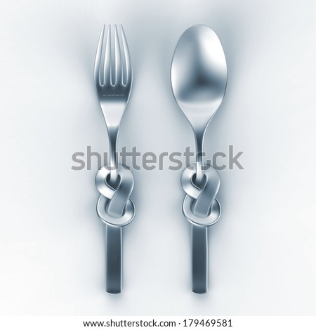 3d illustration of metallic spoon and fork, silverware with Celtic knot - stock photo