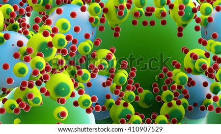 3D illustration of microbiology molecule object - stock photo