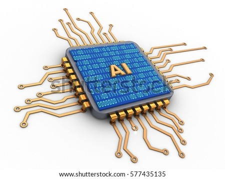 3d illustration of microchip over white background with AI sign and binary code inside