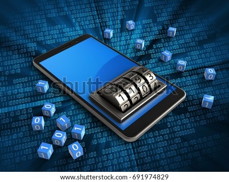 3d illustration of mobile phone over digital background with binary cubes and lock dial