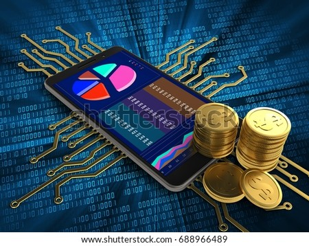 3d illustration of mobile phone over digital background with electronic circuit and coins