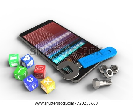 3d illustration of mobile phone over white background with cubes and wrench
