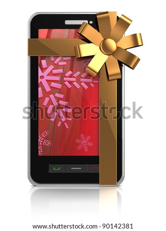 3d illustration of mobile phone with golden ribbon - christmas gift - stock photo