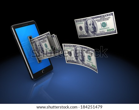 3d illustration of mobile phone with money, over black background - stock photo