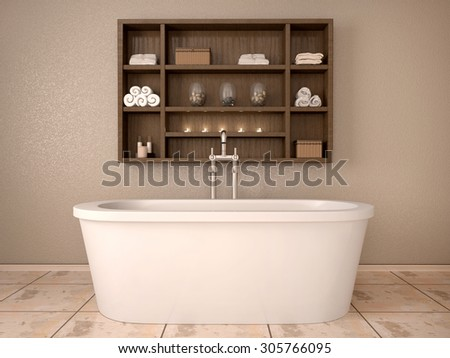 3d illustration of modern bathroom with wooden shelves - stock photo