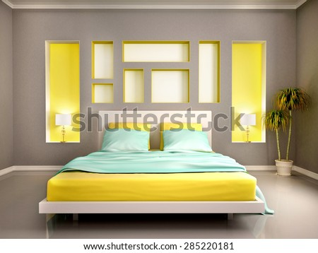 3D illustration of modern bedroom interior with yellow bed - stock photo