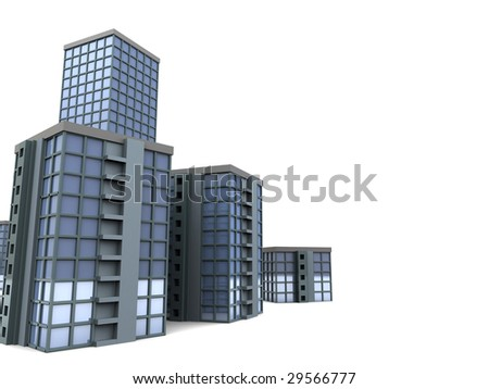 3d illustration of modern city buildings over white background