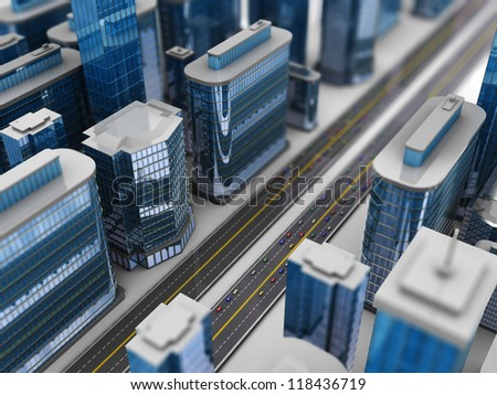 3d illustration of modern city with roads and cars - stock photo