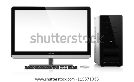 3D illustration of modern computer isolated on white background - stock photo