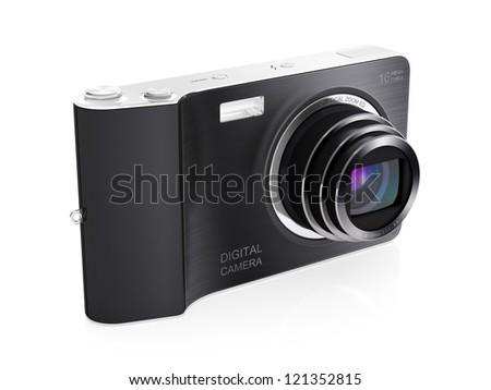 3D illustration of modern digital camera isolated on white backhround - stock photo