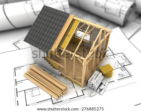 3d illustration of modern frame house project model - stock photo