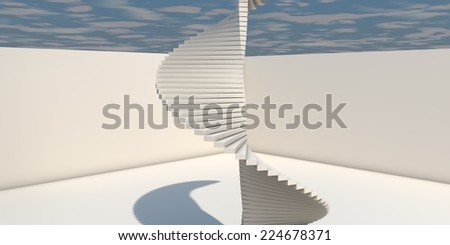 3D Illustration Of Modern Interior With Bended Stairs