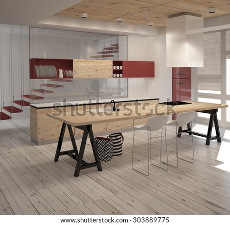 3D Illustration of modern kitchen with red colored and wood details in interior - stock photo