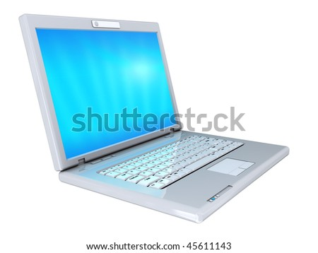 3d illustration of modern laptop isolated over white background