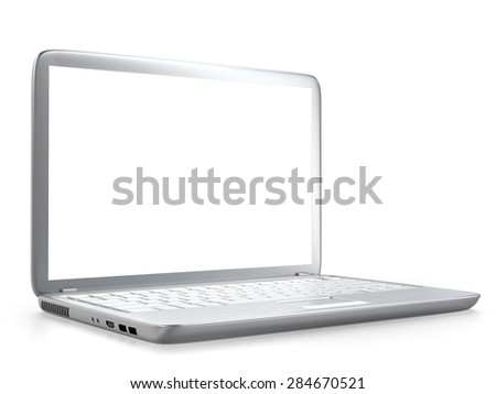 3D illustration of modern laptop PC isolated on white background - stock photo
