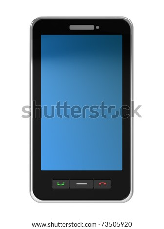 3d illustration of modern mobile phone over white background