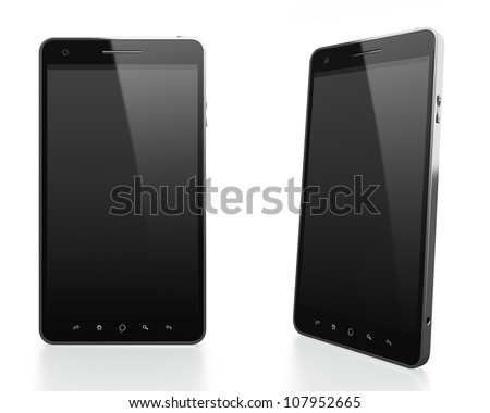 3D illustration of modern mobile phone with black blank screen in different angles on white background - stock photo