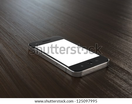 3D illustration of modern mobile phone with blank screen on wooden table. - stock photo