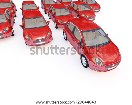 3d illustration of modern red cars on white plane