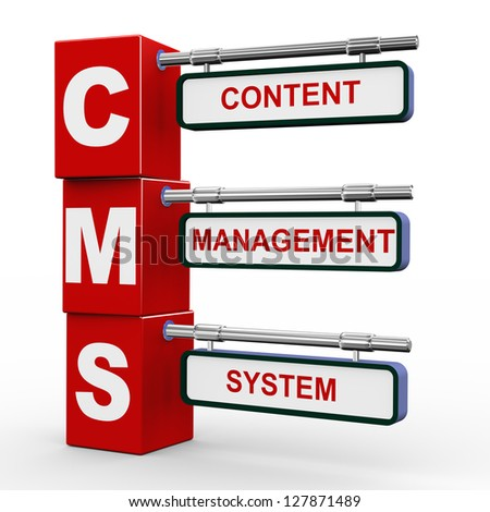 3d illustration of modern roadsign cubes signpost of cms - Content Management System - stock photo