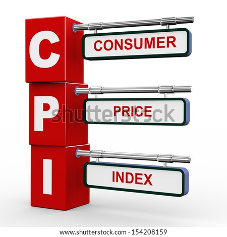 3d illustration of modern roadsign cubes signpost of cpi consumer price index  - stock photo