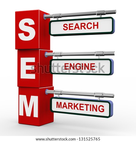 3d illustration of modern roadsign cubes signpost of sem - search engine marketing - stock photo