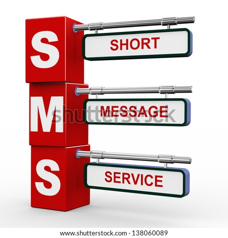 3d illustration of modern roadsign cubes signpost of sms - short message service - stock photo