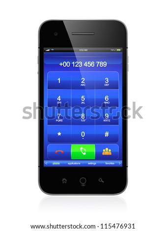 3D illustration of modern smartphone. Call menu design. - stock photo