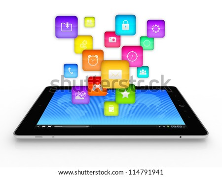 3D illustration of modern tablet computer with flying icons on top of it - stock photo