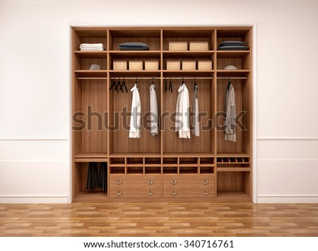 3d illustration of modern wardrobe with clothes and things - stock photo