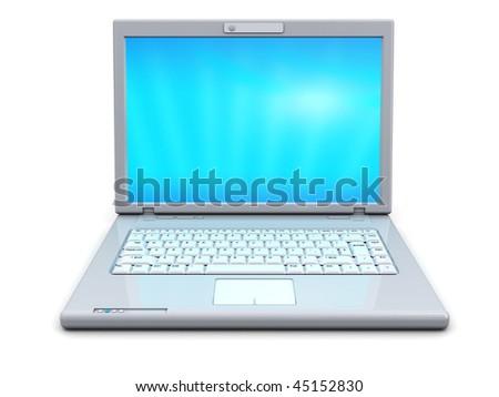 3d illustration of modern white laptop over white background - stock photo