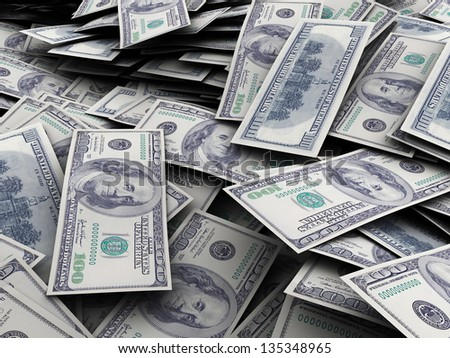3d illustration of money background, 100 dollar banknotes - stock photo