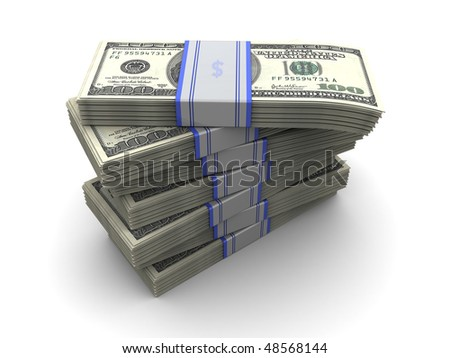 3d illustration of money banknotes stack over white background