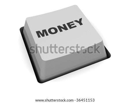 3d illustration of money button over white background